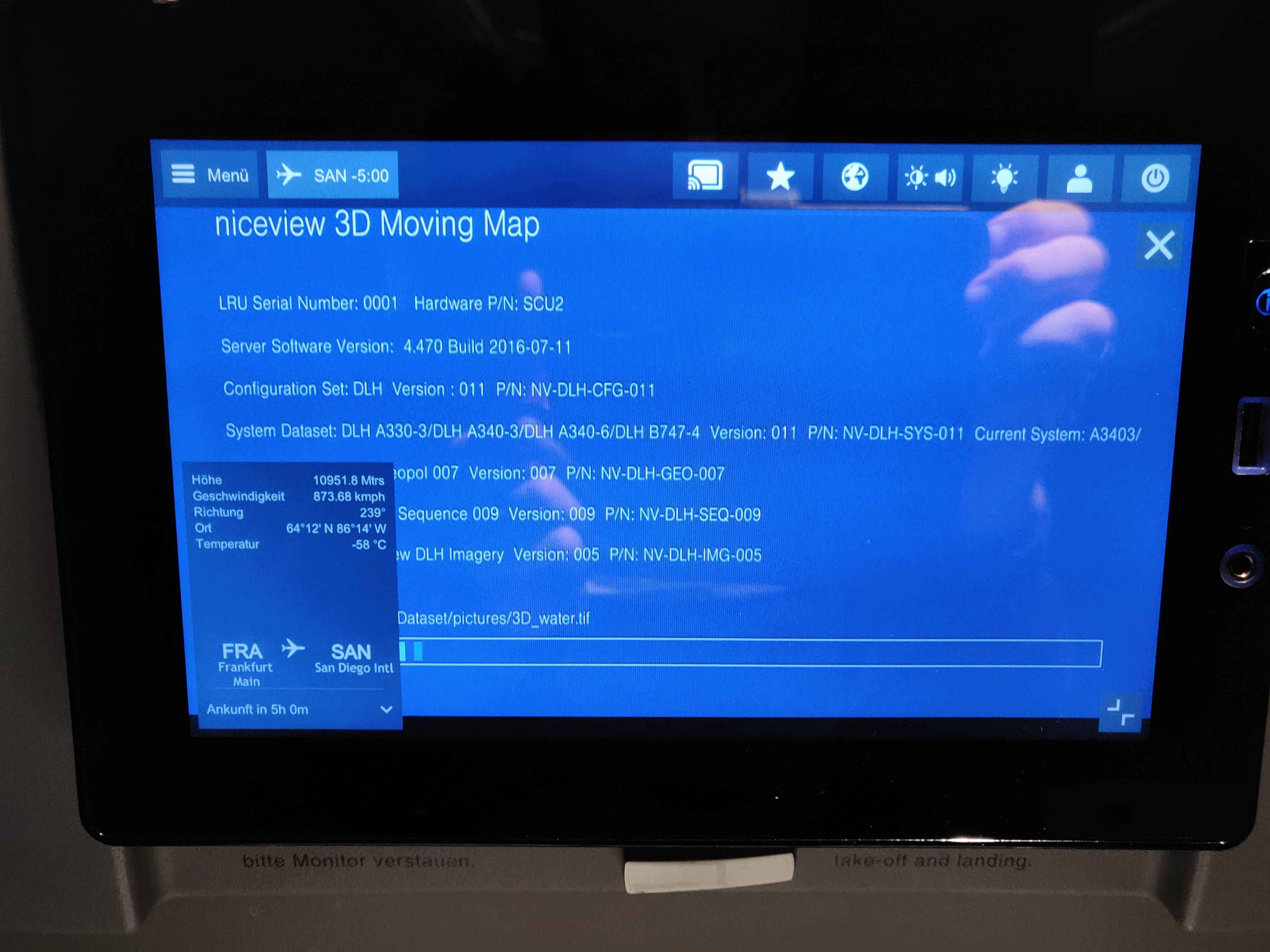 Picture of the flight entertainment system in boot loop